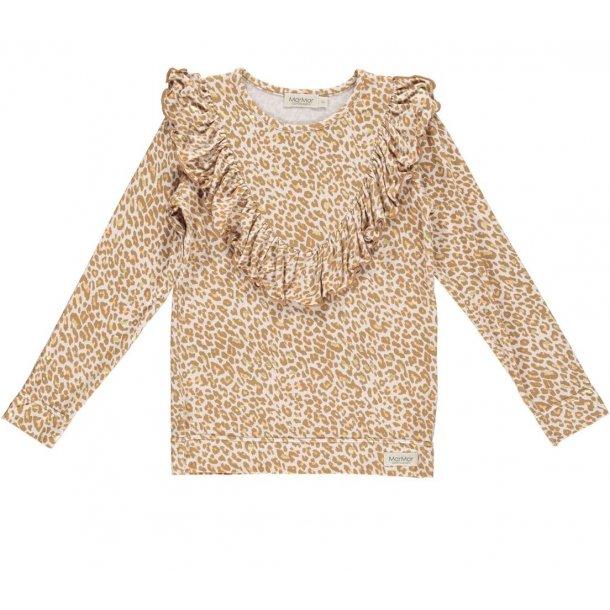 MAR MAR - Langærmet bluse med flæse i caramel leo. Leo Taren