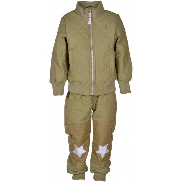 MIKKLINE - Duvet termosæt i oliven med fleece i jakke