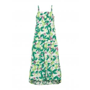 83180469ea19 NAME IT - Kjole lang model i grøn blomstret