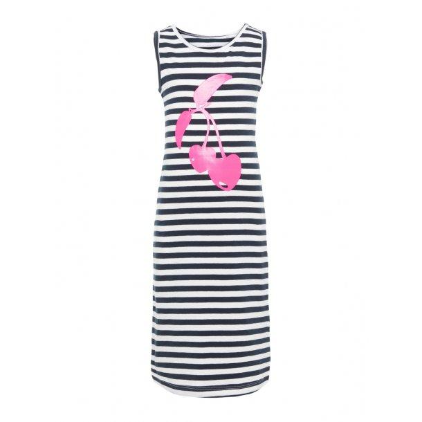 NAME IT - Lang t-shirt kjole i blå-hvid-pink