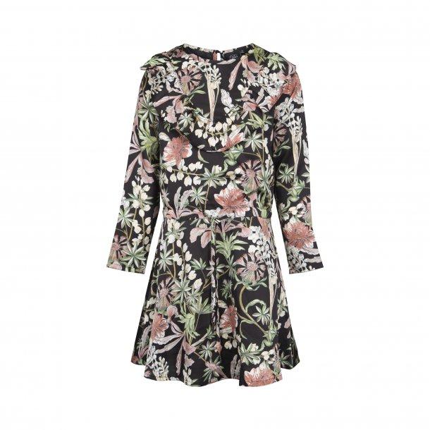 SOFIE SCHNOOR - Kjole i sort med blomster..