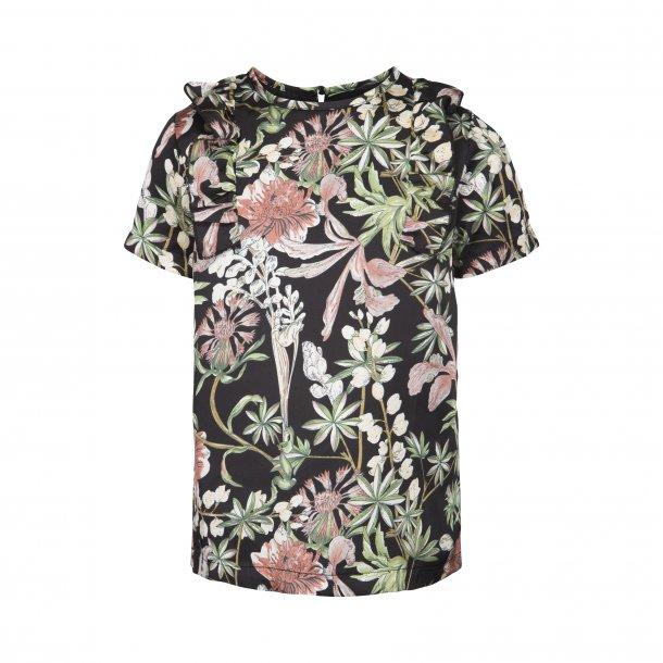 SOFIE SCHNOOR - Bluse i sort med blomster