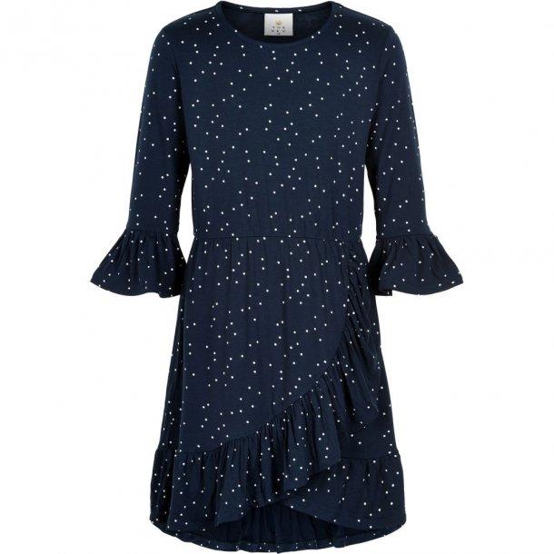 THE NEW - Kjole i blå med hvide prikker. Kisa