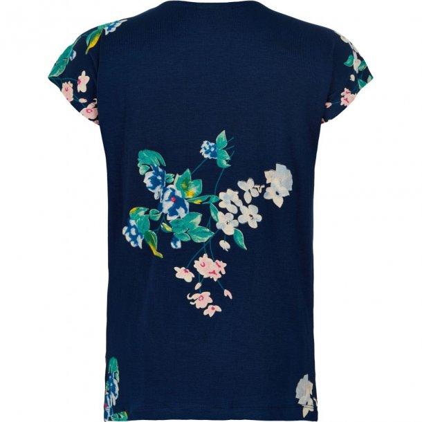 THE NEW - T-Shirt i blå med grønne blomster. Kaisja