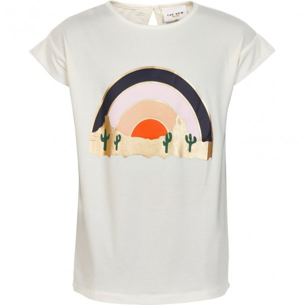 THE NEW - T-Shirt i creme med solnedgang. Liva