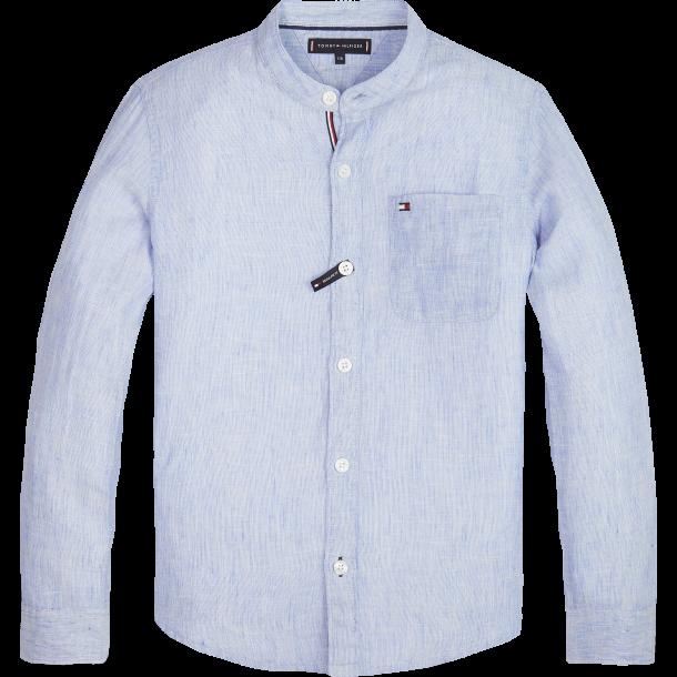 TOMMY HILFIGER - Skjorte i lyseblå stribet med kinakrave