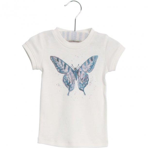 WHEAT - T-Shirt i creme med sommerfugl..