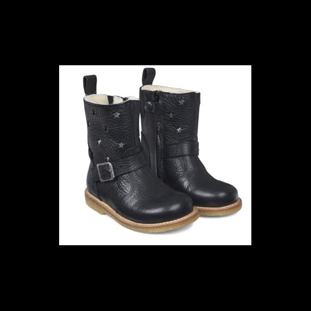 ANGULUS - TEX Støvle med uldfoer i sort med stjerner