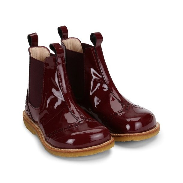 ANGULUS - Chelsea støvle i bordeaux lak