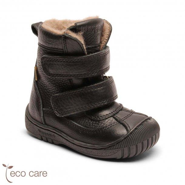 BISGAARD - TEX Støvle med uldfoer i Sort skind med gummi på snuden