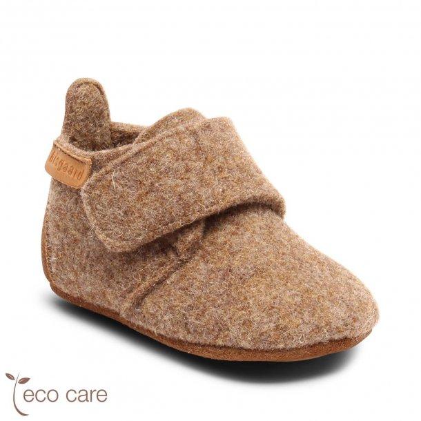 BISGAARD - Hjemmesko i uld med velcro i Camel