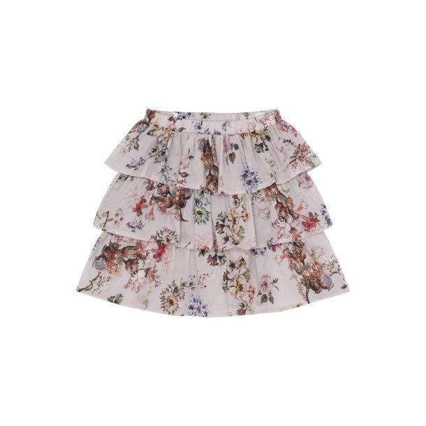 ROHDE - Nederdel i flæser i creme blomstret