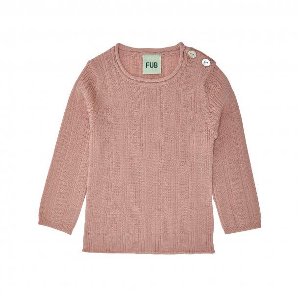 FUB - Rib bluse i uld i blush