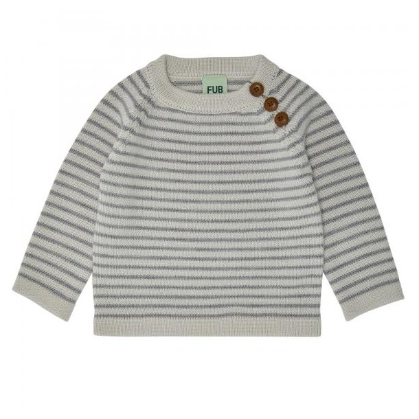 FUB - Baby sweater i creme-grå stribet