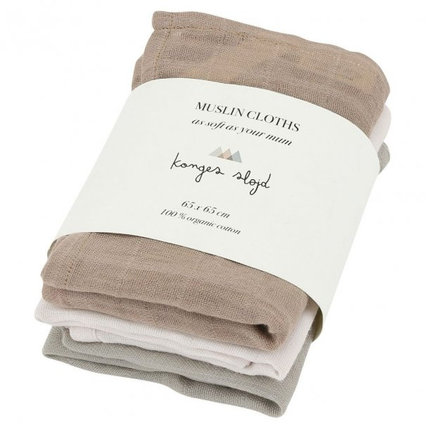 KONGES SLØJD - 3-Pack muslin bleer i rose dust