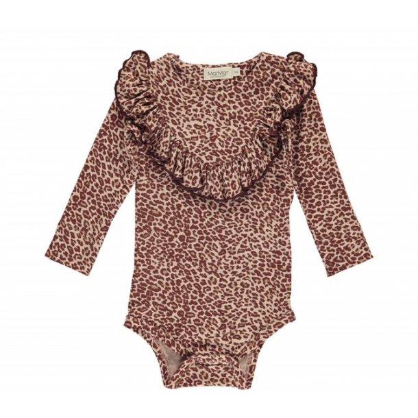 MAR MAR - Body med flæse i wine leopard
