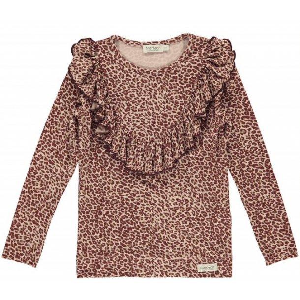 MAR MAR - Bluse i wine leopard. Leo Taren