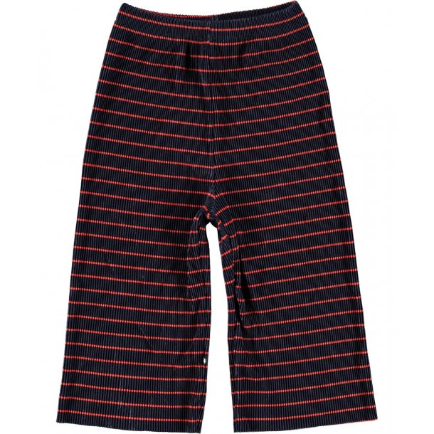 MOLO - Vide plisse bukser i blå med rød stribe. Alicia