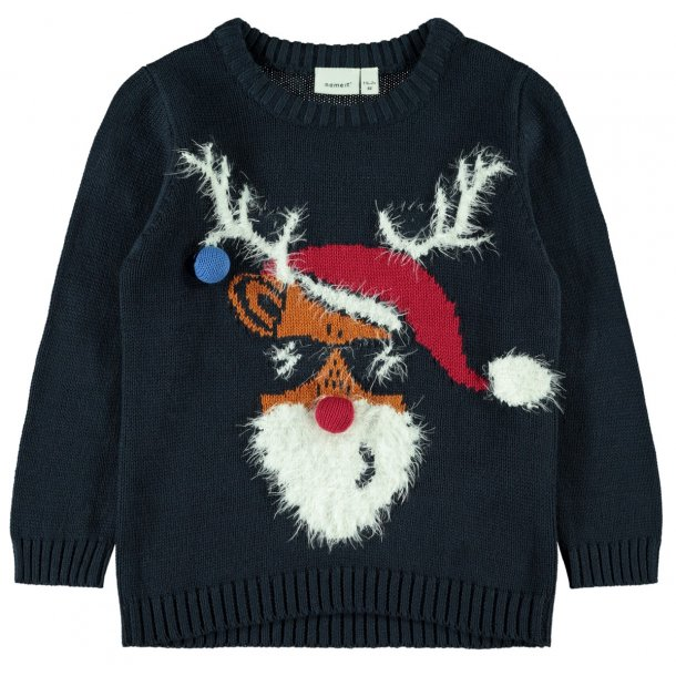 NAME IT - Strik i blå med Rudolf..