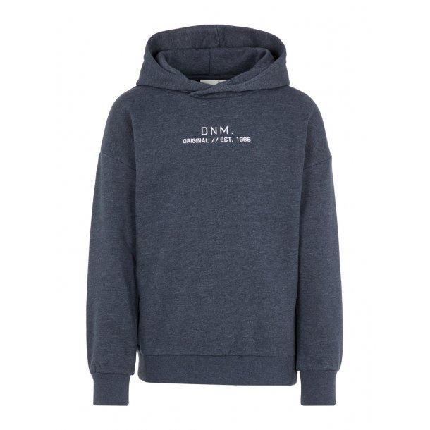 NAME IT - Sweatshirt med hætte i blåmeleret