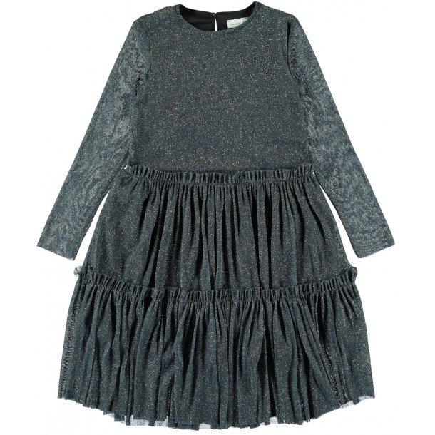 NAME IT- Kjole i grå-blå glimmer