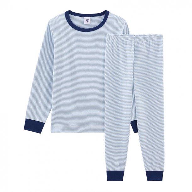 PETIT BATEAU - Nattøj i lyseblå-stribet med blå kant