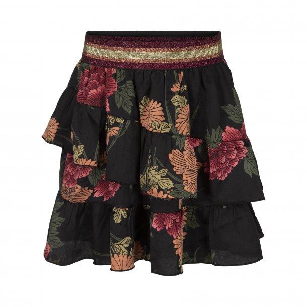 SOFIE SCHNOOR - Nederdel i sort med store blomster...