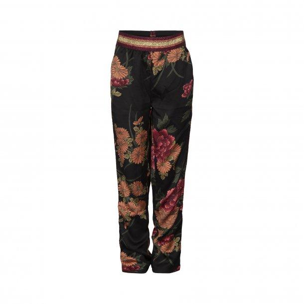 SOFIE SCHNOOR - Bukser i sort med store blomster..