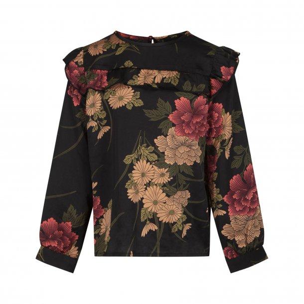 SOFIE SCHNOOR - Skjorte i sort med store blomster