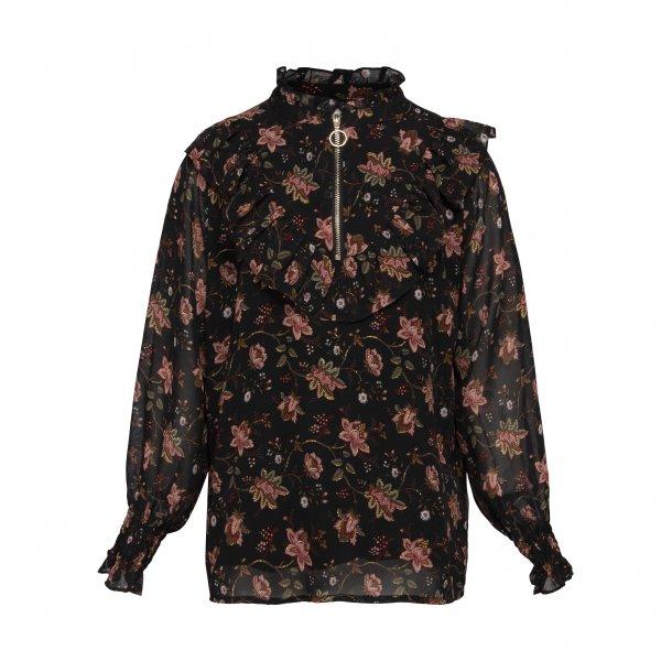 SOFIE SCHNOOR - Skjorte i sort med små blomster
