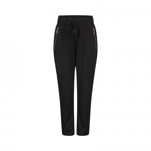 SOFIE SCHNOOR - Bukser i sort med guld lynlås ved lomme