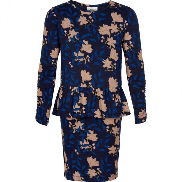 THE NEW - Kjole med skød i blå med rosa blomst. Melua