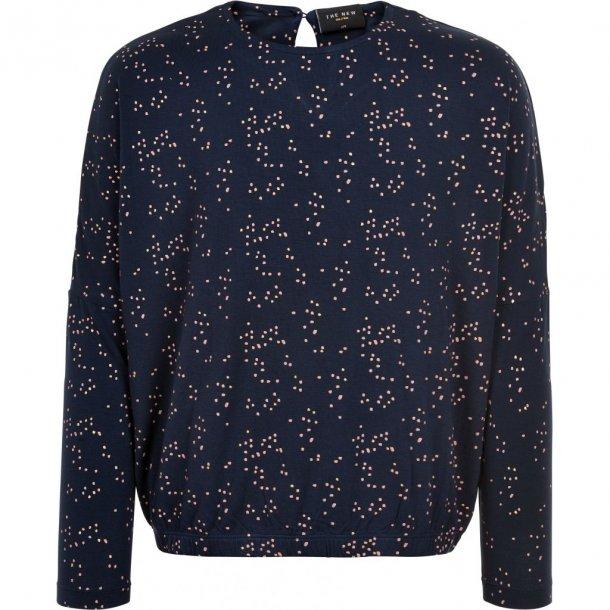 THE NEW - Bluse i blå med guld og rosa prik i viscose. Mandy