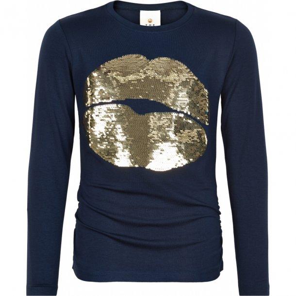 THE NEW - Langærmet t-shirt i Navy med pailetter. Noimi