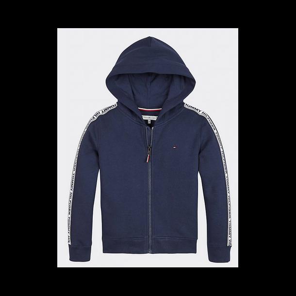 TOMMY HILFIGER - Sweatshirt med zip i navy med piping på ærme. Pige