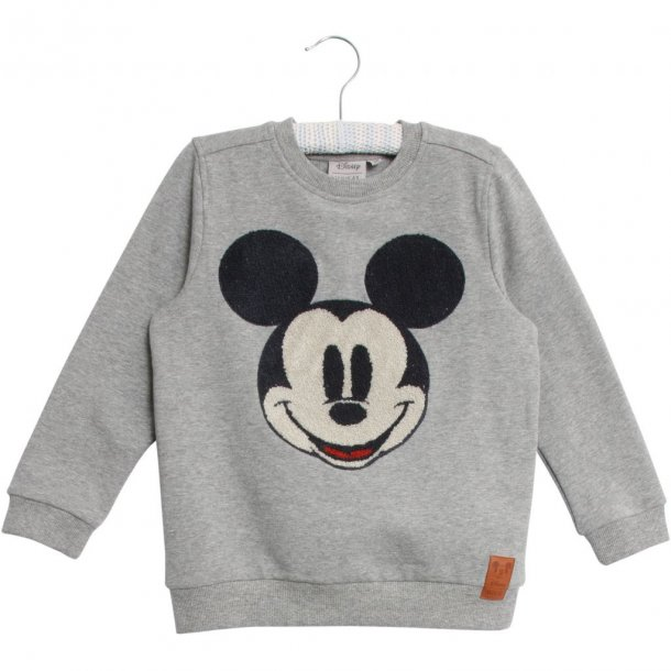 WHEAT - Sweatshirt i grå med broderet Mickey Mouse