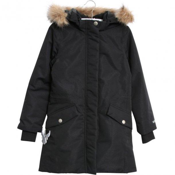 WHEAT - Vinterfrakke i sort med refleks glimmer. Parka Elisabeth