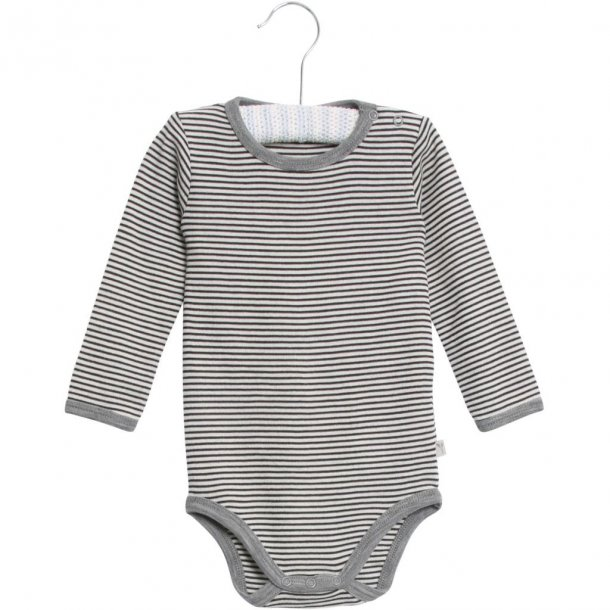 WHEAT - Baby uld body i navystribet