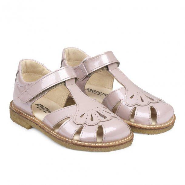 ANGULUS - Sandal med vifte i lyserød perlemors lak. NY