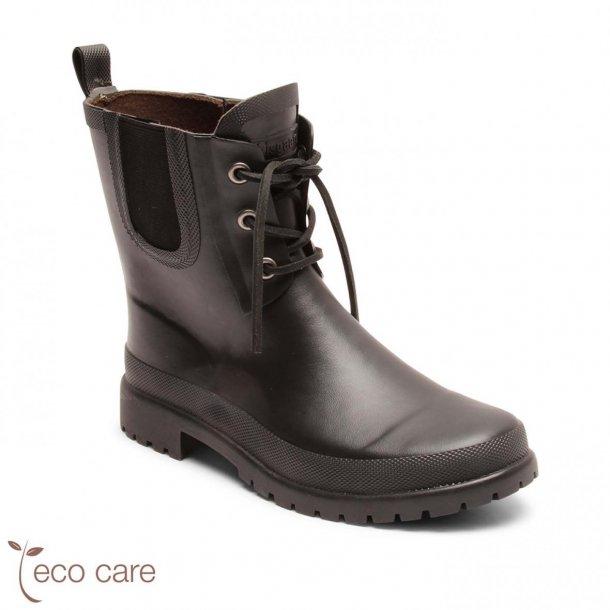 BISGAARD - Junior/voksen gummistøvle i kort model med snøre i sort