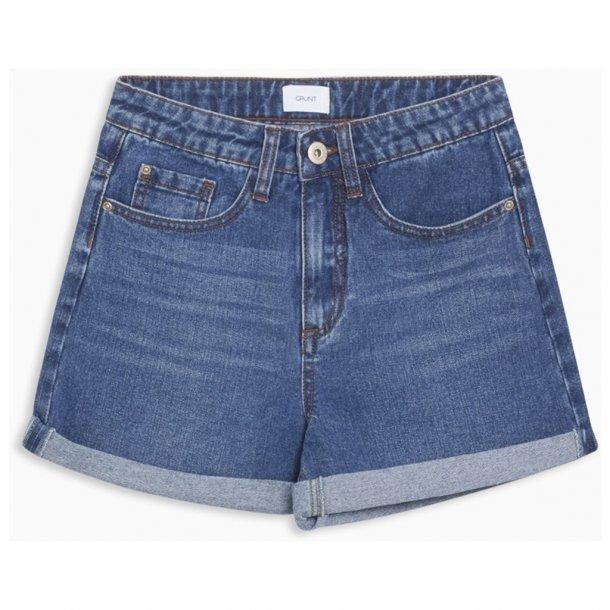 GRUNT - Denim shorts i mellemblå. Mom