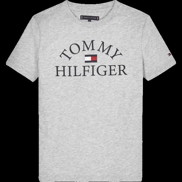 TOMMY HILFIGER - Kortærmet t-shirt i lys grå med Tommy