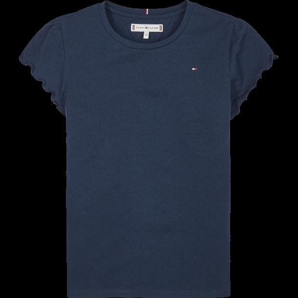 TOMMY HILFIGER - T-Shirt i blå med flæse ærme. Pige