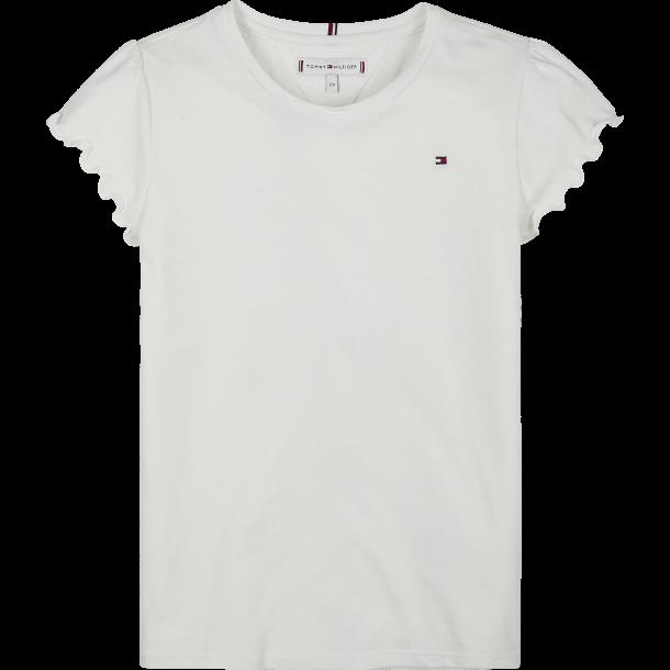 TOMMY HILFIGER - T-Shirt i hvid med flæse ærme. Pige