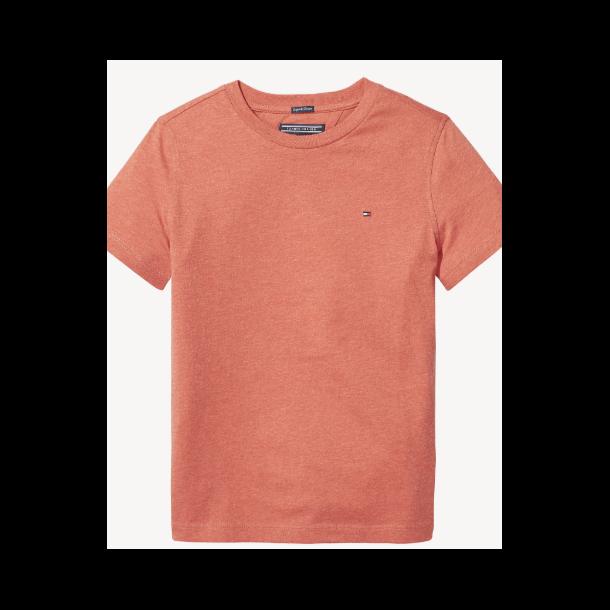 TOMMY HILFIGER - T-Shirt i rødmeleret. Basic