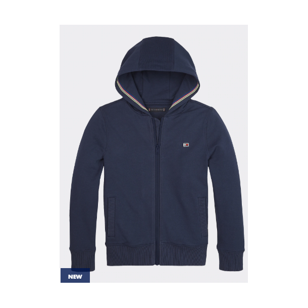 TOMMY HILFIGER - Sweatshirt i navy med piping i hætte.
