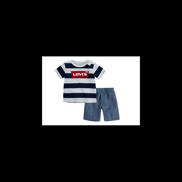 LEVIS - Shortssæt. Shorts i chambrey og stribet t-shirt