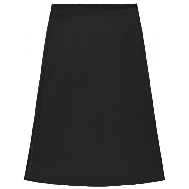 LIMITED - Satin nederdel i sort