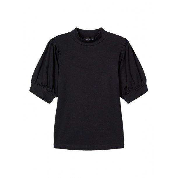 LIMITED - T-Shirt i sort med puf-ærme