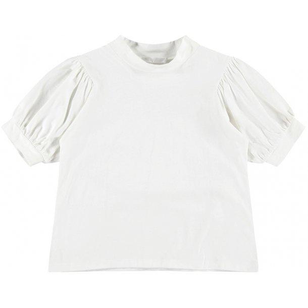 LIMITED - T-Shirt i hvid med puf-ærme